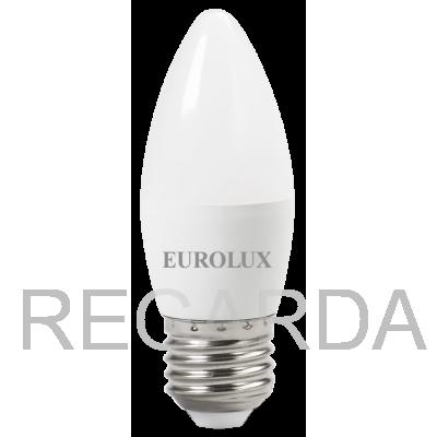 Лампа светодиодная EUROLUX  LL-E-C37-6W-230-2,7K-E27