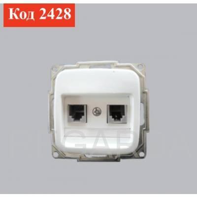 Розетка для телефона 4-х контактная 2-х модульная