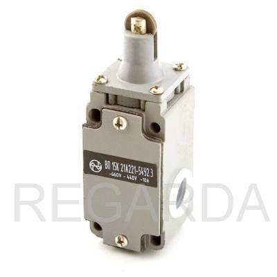Выключатель путевой: ВП15К21А(Б)221-54У2.3  (толкатель с роликом, полумгновенного действия)