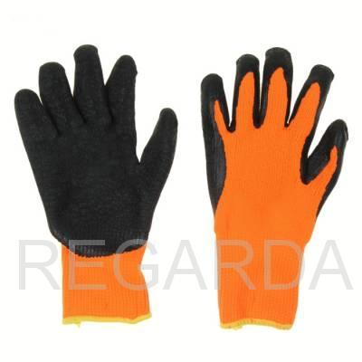 "Перчатки х/б с рифленым латексом ""Оранж"""